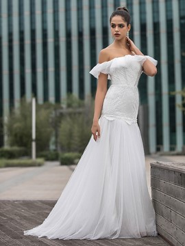 Ericdress Ruffles Strapless Mermaid Church Wedding Dress