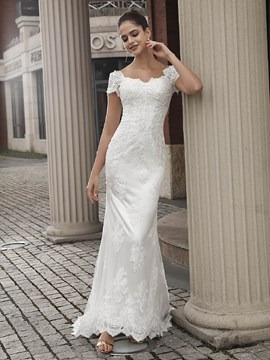 Ericdress Short Sleeves Scalloped-Edge Outdoor Wedding Dress 2020