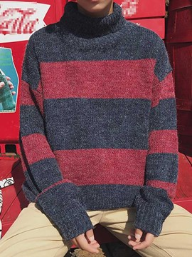 Ericdress Mid-Length Color Block Turtleneck Loose Korean Men's Sweater