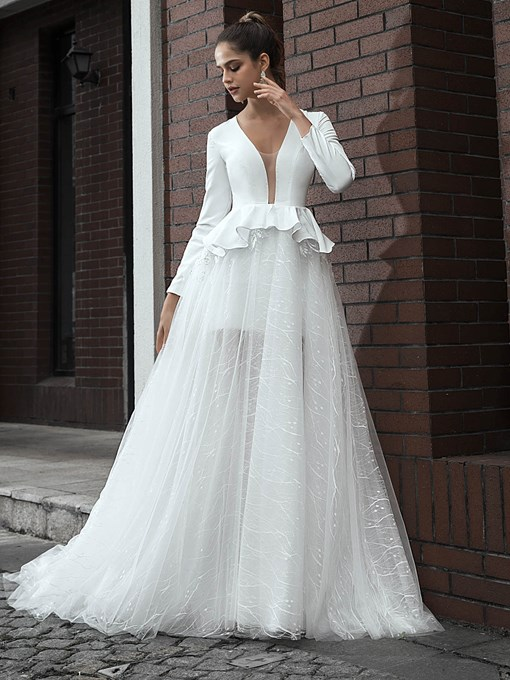 Ericdress A-Line Long Sleeves Vintage Wedding Dress 2020