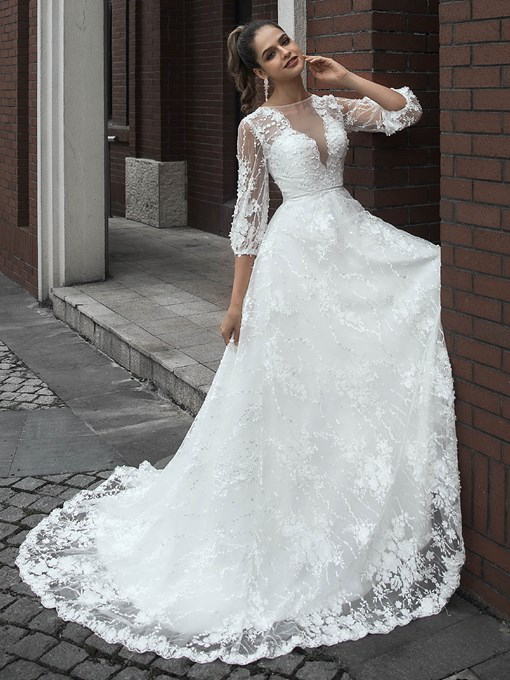 Ericdress Button 3/4 Length Sleeves Floor-Length Court Hall Wedding Dress
