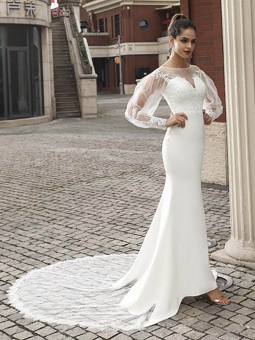Ericdress Lace Chapel Long Sleeves Church Wedding Dress