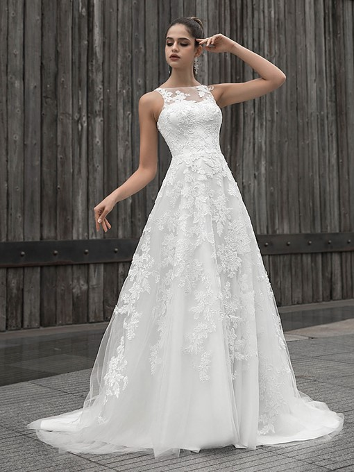 Ericdress Sleeveless Appliques A-Line Wedding Dress