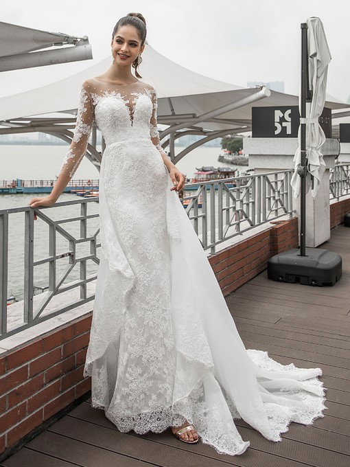 Ericdress Beading Watteau Floor-Length Lace Outdoor Wedding Dress 2020