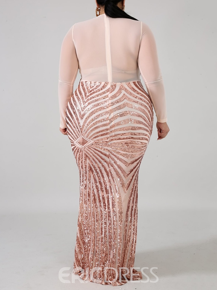 Ericdress Plus Size Round Neck Floor-Length See-Through Bodycon High Waist Dress