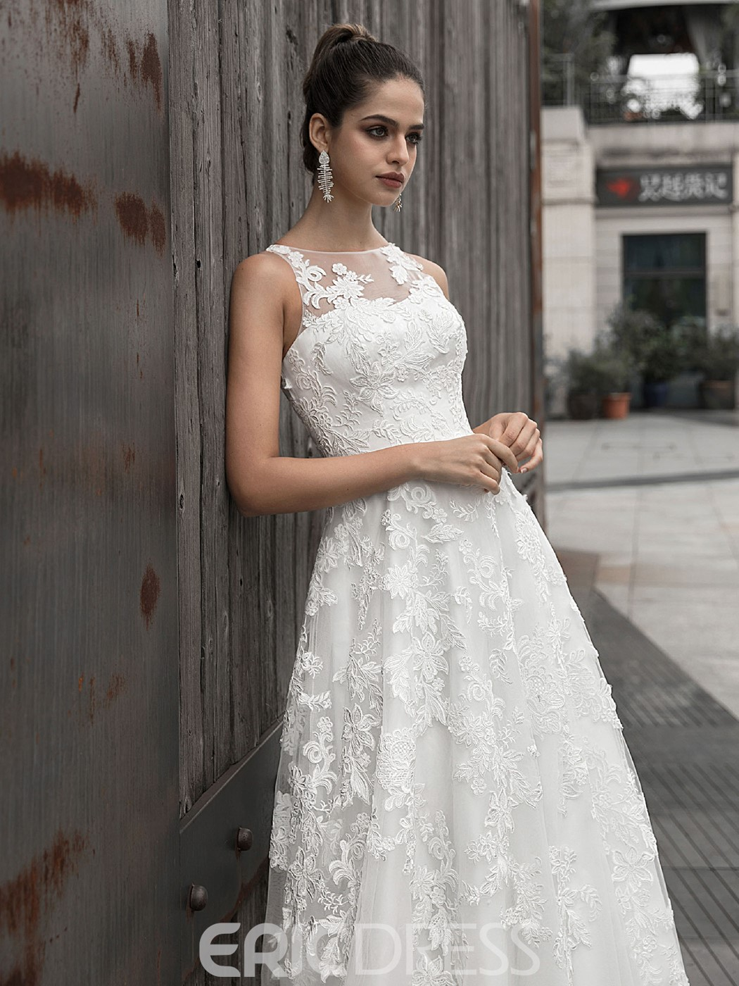 Ericdress Sleeveless Appliques A-Line Wedding Dress 2020