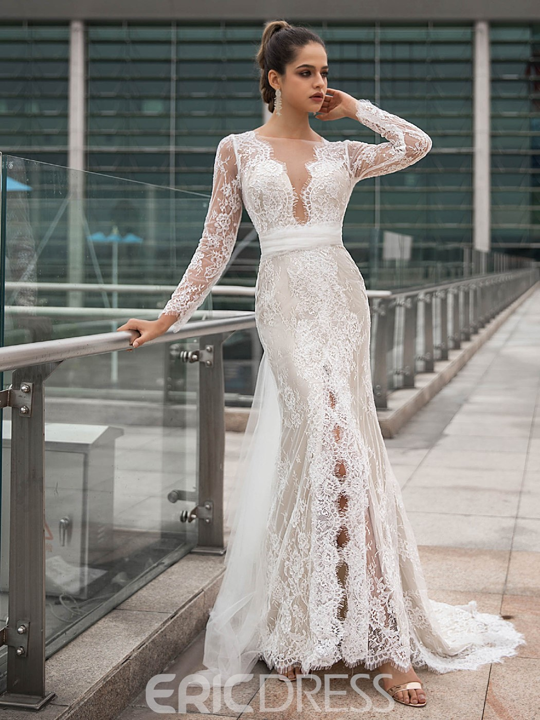 Ericdress Ribbons Long Sleeves Mermaid Lace Wedding Dress 2020