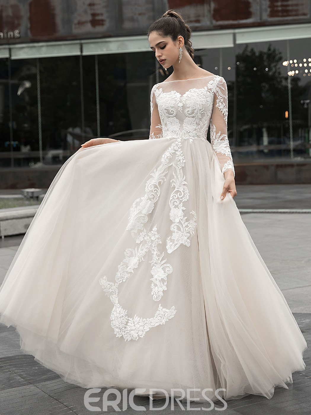 Ericdress Lace A-Line Long Sleeves Hall Wedding Dress