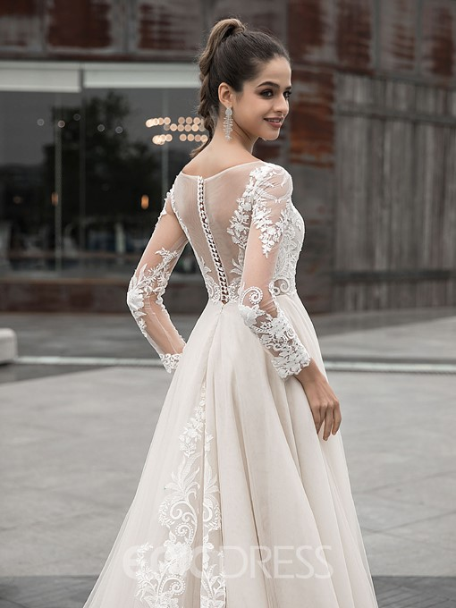 Ericdress Lace A-Line Long Sleeves Hall Wedding Dress 2020