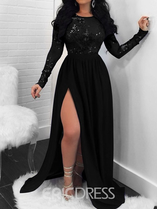 Ericdress Floor-Length See-Through Sequins Long Sleeve Pullover Plain Lace Dress
