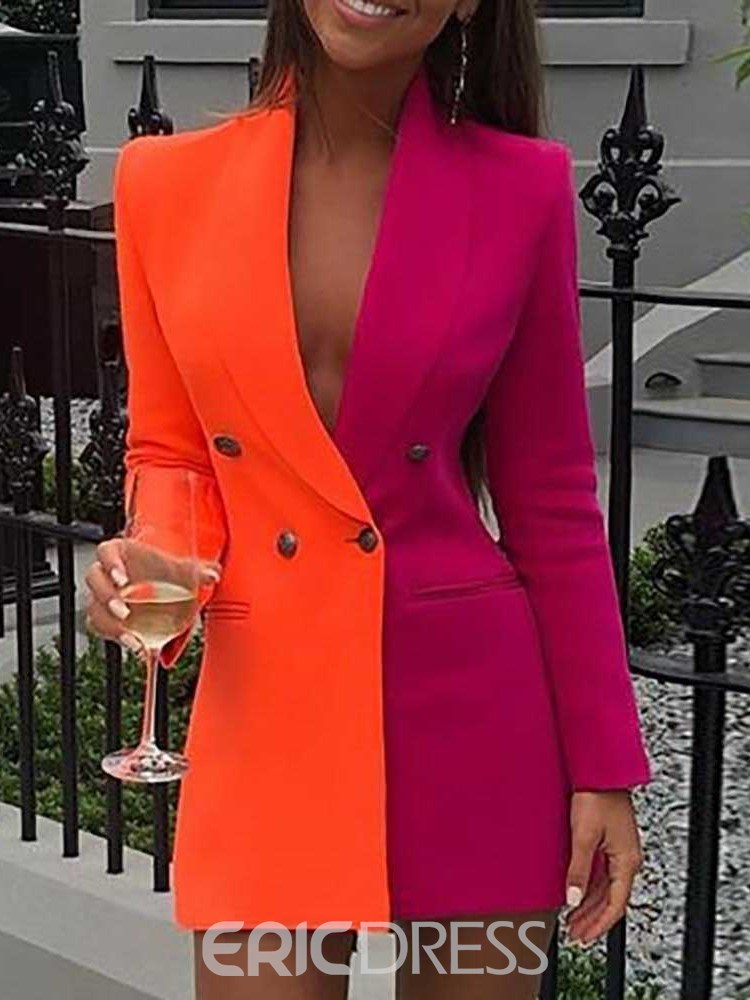 Ericdress Double-Breasted Color Block Mid-Length Women's Casual Blazer