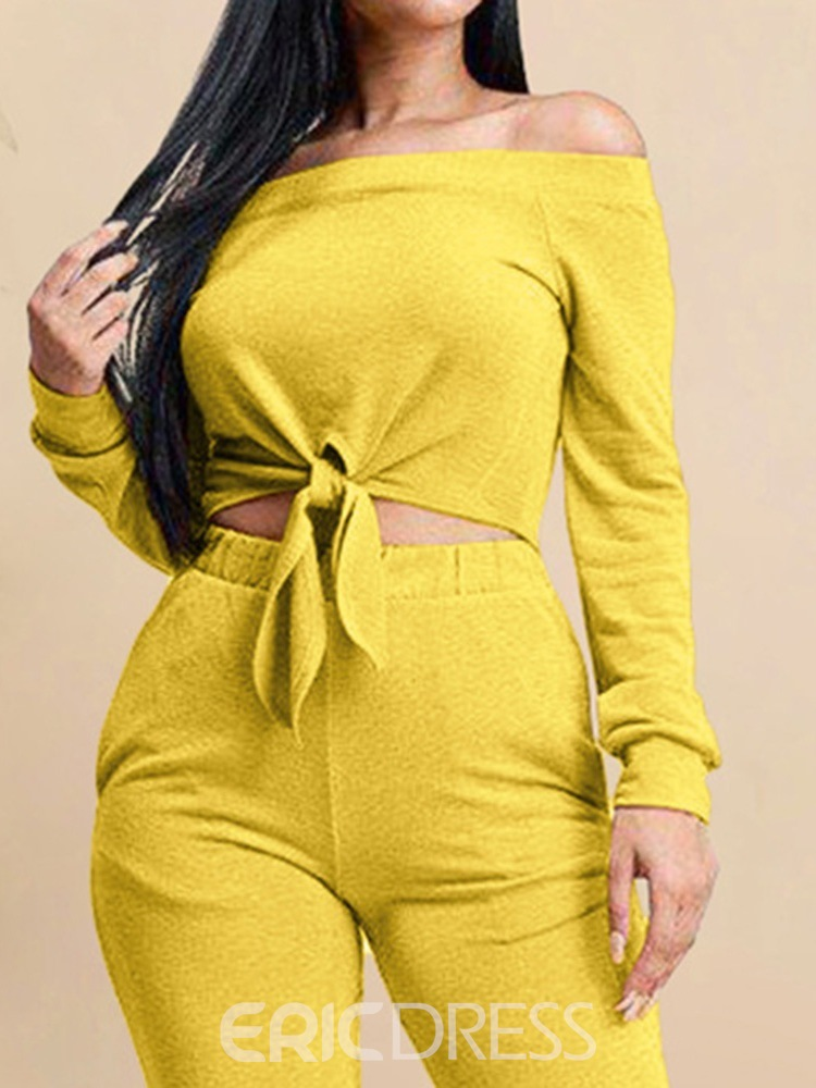 Ericdress Plain Lace-Up Casual Off Shoulder Two Piece Sets