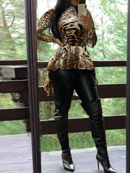 Ericdress Leopard Sexy Print Stand Collar Mid-Length Long Sleeve Blouse фото