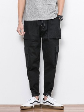 Ericdress Plain Color Pocket Overall Lace-Up Men's Casual Pants