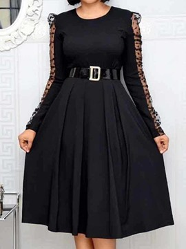 Ericdress Long Sleeve See-Through Round Neck A-Line High Waist Dress