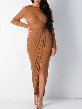 Ericdress Long Sleeve Round Neck Pleated High Waist Fall Dress