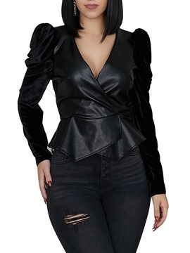 Ericdress Slim Black Faux Leather Standard PU Women's Jacket