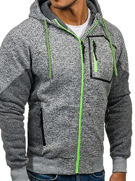 Ericdress Color Block Cardigan Artificial Fleece Loose Men's Casual Hoodies