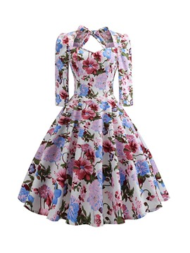 Ericdress Print Three-Quarter Sleeve Mid-Calf Mid Waist Vintage Dress