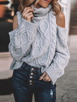 Ericdress Regular Off Shoulder Straight Turtleneck Sweater