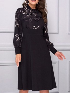 Ericdress Long Sleeve Bowknot Knee-Length Date Night/Going Out Winter Dress