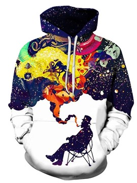 Ericdress Printed Color Block Loose Men's Hoodies