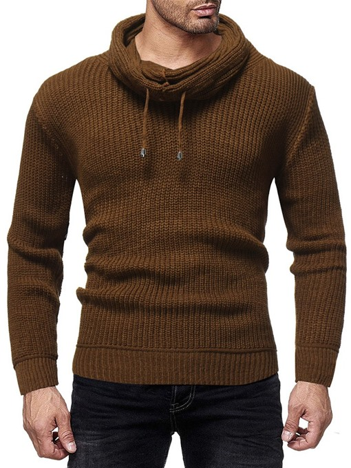 Ericdress Heap Collar Plain Color Winter Slim Men's Sweater