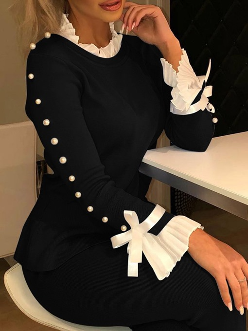 Ericdress Lace-up Collar Bowknot Long Sleeve Standard Blouse