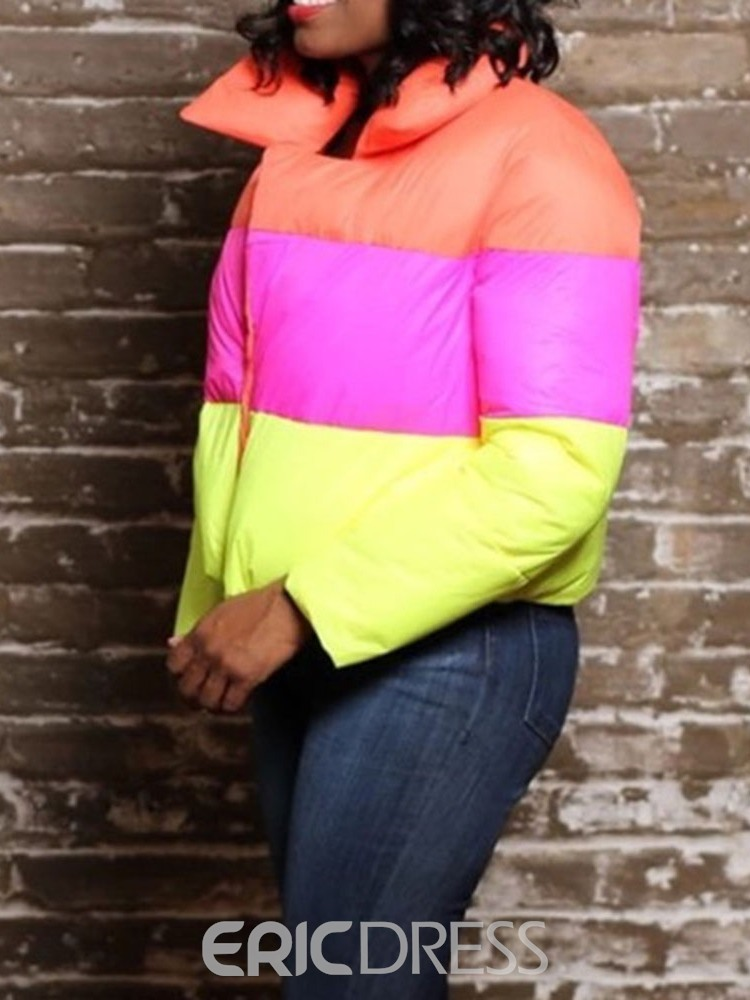 Ericdress Western Color Block Straight Cotton Padded Jacket