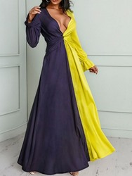 Ericdress Pleated Floor-Length V-Neck Flare Sleeve Expansion Dress