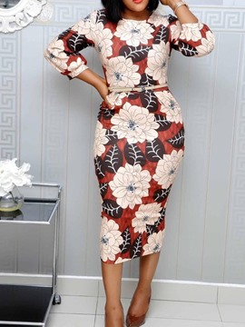Ericdress Print Mid-Calf Round Neck Lantern Sleeve Pullover Dress