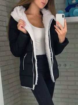 Ericdress Straight Zipper Thick Mid-Length Cotton Padded Jacket