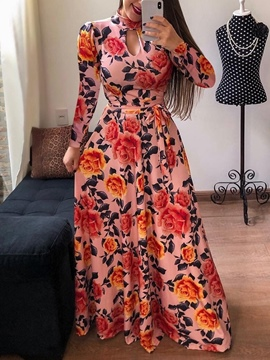 Ericdress Floor-Length V-Neck Print Spring Mid Waist Dress