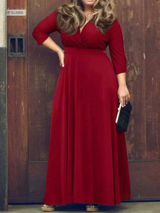 Ericdress Plus Size Floor-Length Three-Quarter Sleeve V-Neck Spring Regular Dress