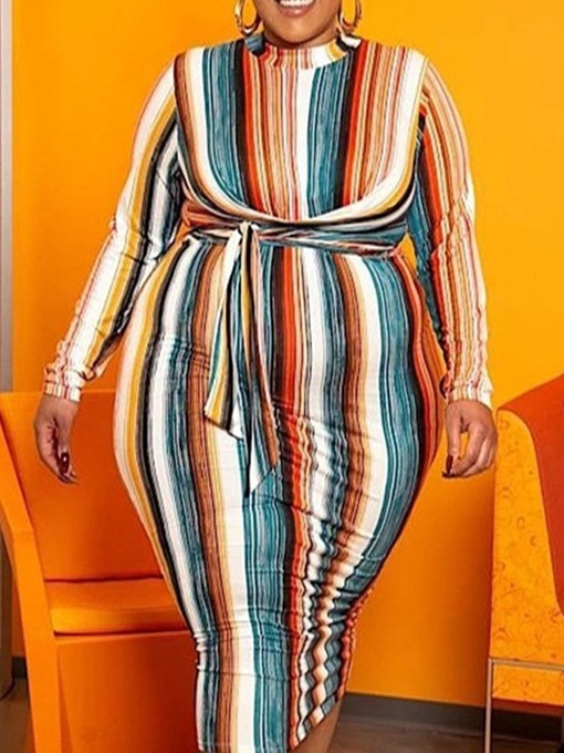 Ericdress Plus Size Mid-Calf Print Stand Collar Fashion Stripe Dress