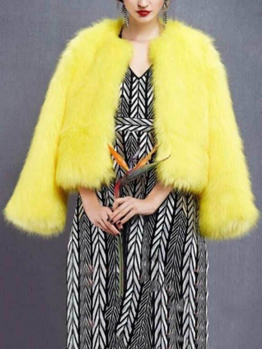Ericdress Faux Fur Dress Coat Plain Regular Thick Straight Faux Fur Coat
