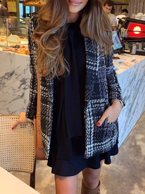 Ericdress Plaid Fashion Regular Straight Mid-Length Women's Coat
