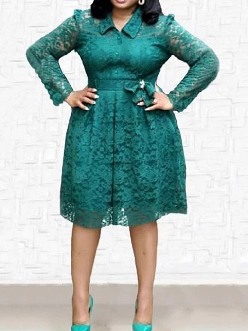 Ericdress Plus Size Mid-Calf Long Sleeve Lace-Up Fall A-Line Dress