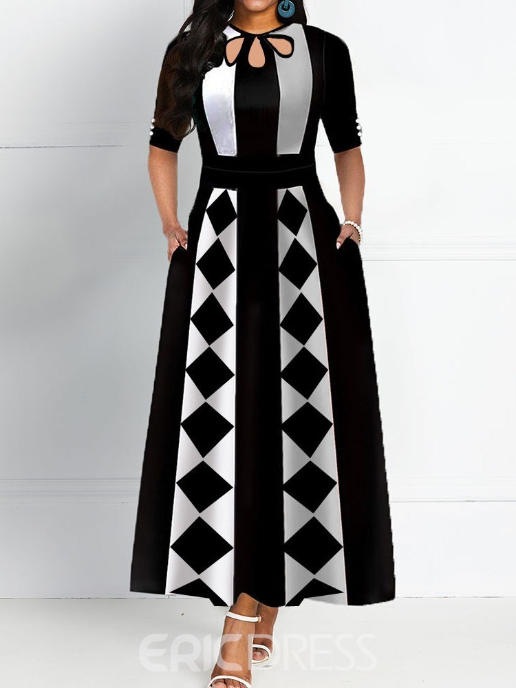 Ericdress Round Neck Ankle-Length Half Sleeve Fashion A-Line Dress