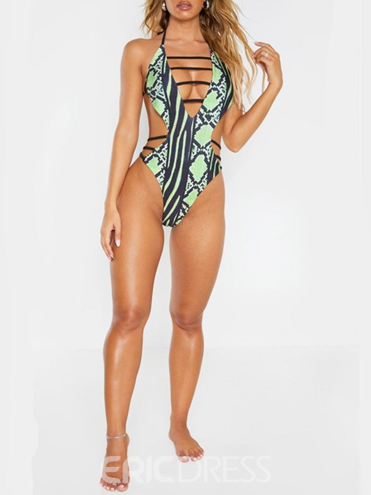 Ericdress African Fashion One Piece Color Block Sexy Swimwear