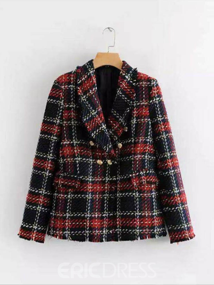 Ericdress Plaid Lapel Double-Breasted Standard Casual Blazer
