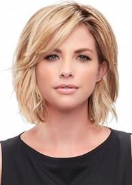 Ericdress Women's Short Layered Hairstyles Side Part Blonde Natural Straight Human Hair Lace Front Wigs 12Inch