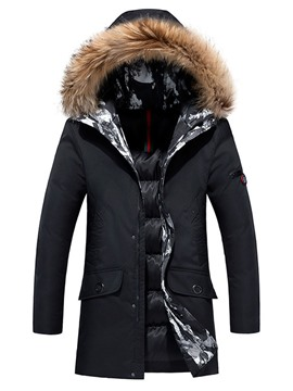 Ericdress Hooded Zipper Mid-Length Style Casual Men's Down Jacket