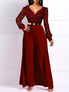Ericdress Swallowtail Full Length Office Lady Slim Straight Jumpsuit