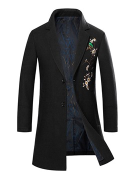 Ericdress Mid-Length Button Color Block Winter Single-Breasted Men's Coat