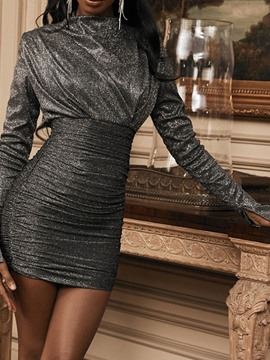 Ericdress Sequins Above Knee Long Sleeve Spring High Waist Dress