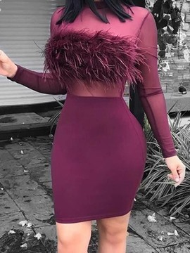 Ericdress Above Knee See-Through Long Sleeve Bodycon Plain Dress