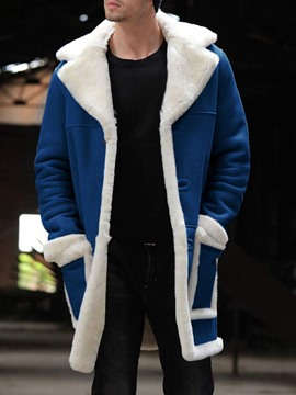 Ericdress Patchwork Mid-Length Color Block A Line Men's Winter Coat