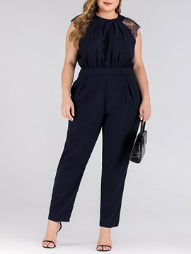 Ericdress Elegant Plus Size Plain Full Length Slim Jumpsuit