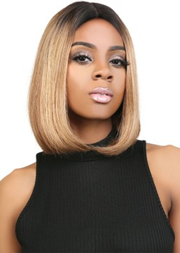 Ericdress Short Bob Hairstyles Women's Middle Part Straight Human Hair Lace Front Wigs 14Inch